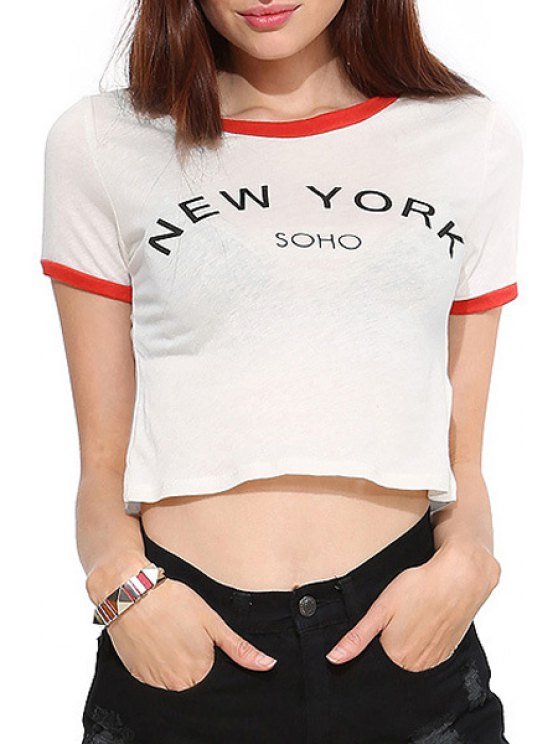 lady Short Sleeve Color Block Letter Print Crop Top - WHITE XS