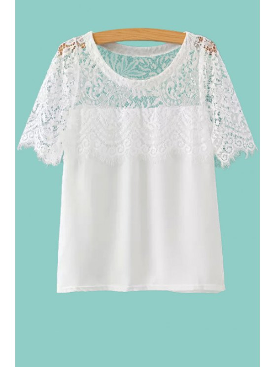 ladies Lace Spliced Short Sleeves T-Shirt - WHITE S