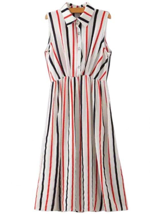hot Stripes Turn-Down Collar Sleeveless Dress - STRIPE S