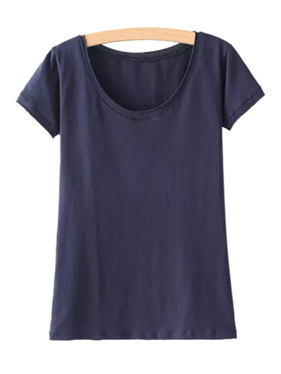 outfit Solid Color V Neck Short Sleeve T-Shirt - PURPLISH BLUE ONE SIZE(FIT SIZE XS TO M)