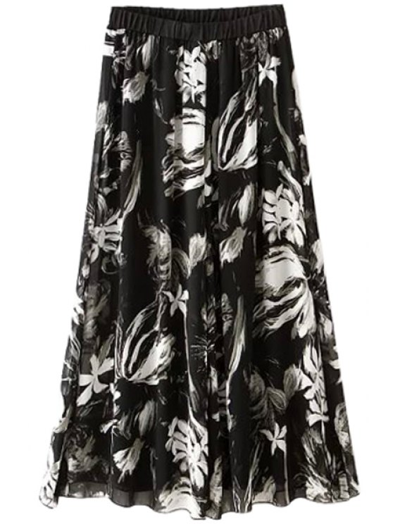 ladies Floral Print Chiffon Spliced Pants - WHITE AND BLACK S