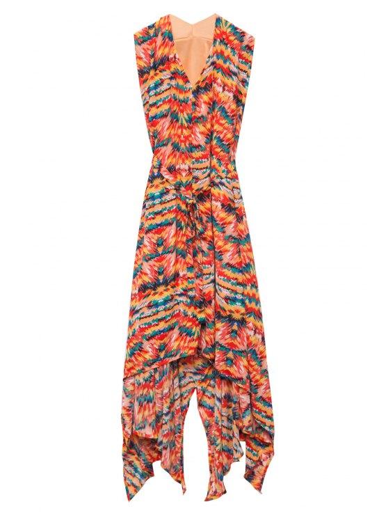 latest Print Ruffle Asymmetrical Sleeveless Dress - JACINTH S