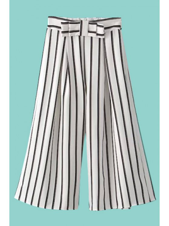 women Color Block Stripe Bowknot Capri Pants - WHITE ONE SIZE(FIT SIZE XS TO M)