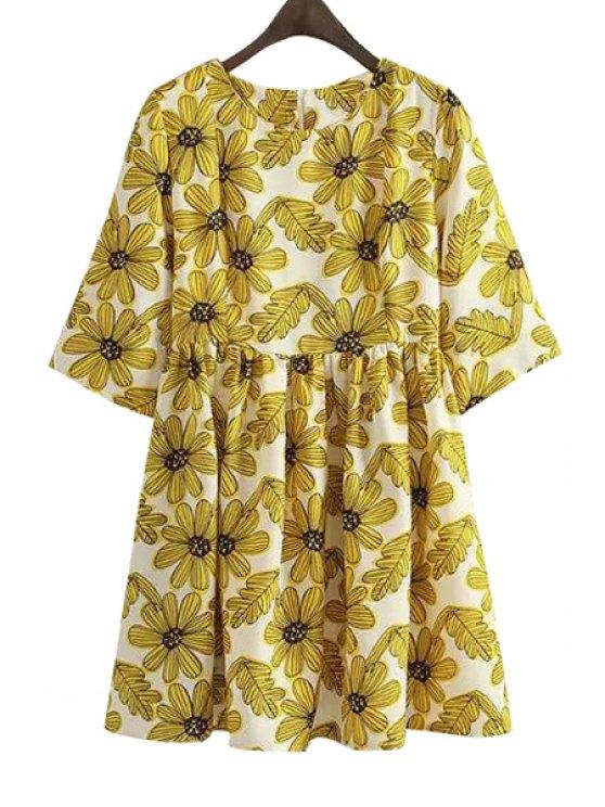 womens Yellow Floral Print Half Sleeve Dress - YELLOW M