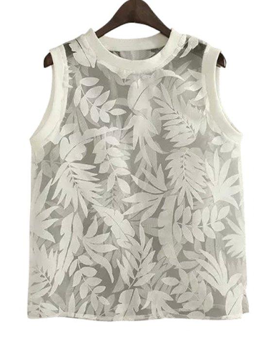 shop Leaves Print See-Through Sleeveless Tank Top - WHITE S