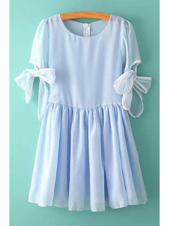 ladies Bowknot Multi-Layered Short Sleeve Dress - BLUE S