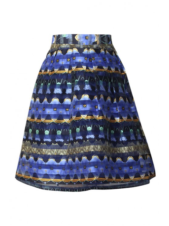 trendy Organza Printed Zipper-Fly Flare Skirt - BLUE S