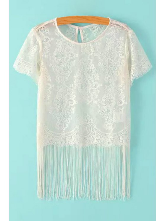 hot See-Through Lace Fringe Short Sleeve T-Shirt - WHITE S