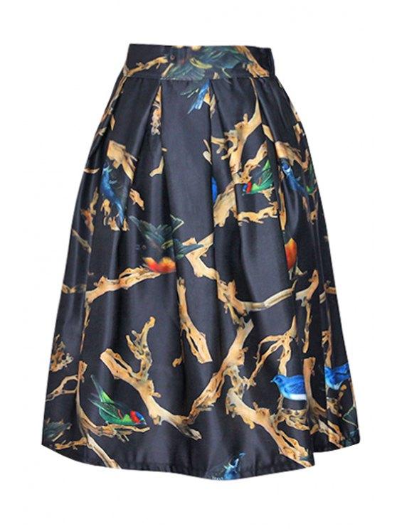 womens Bird Print Zipper-Fly Flounced A-Line Skirt - BLACK ONE SIZE(FIT SIZE XS TO M)