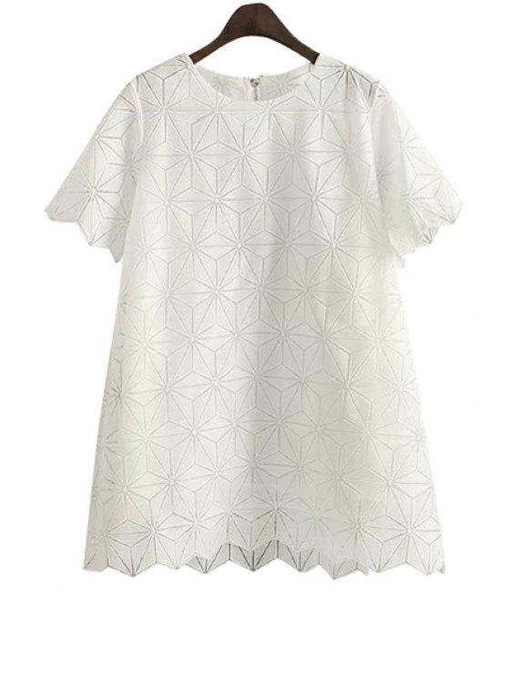 shop Argyle Pattern Solid Color Short Sleeve Dress - WHITE S