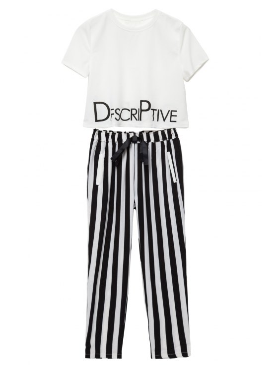 womens Letter Print T-Shirt + Stripe Tie-Up Pants - WHITE AND BLACK S