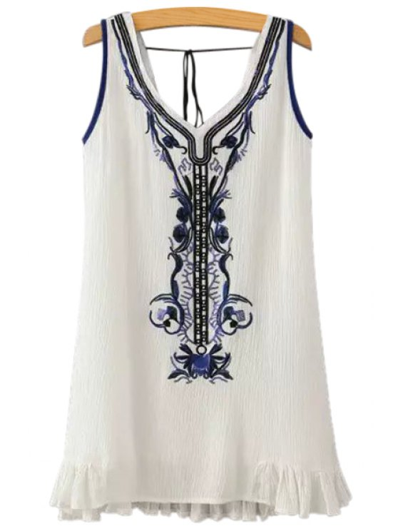 sale Embroidery Sequins Sleeveless Dress - WHITE S