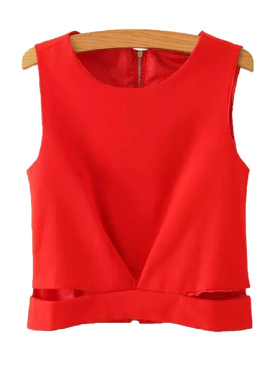 latest Solid Color Back Zipper Openwork Tank Top - RED S
