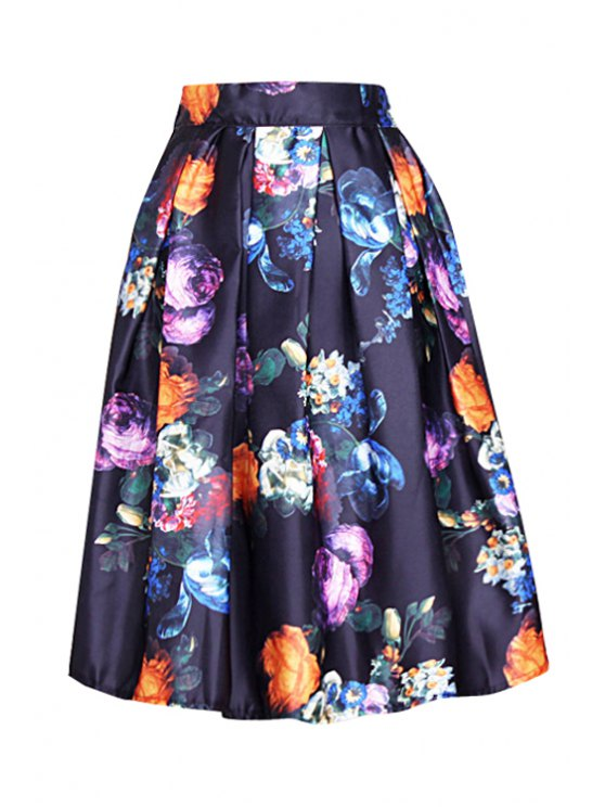shop Floral Print Ruffled Ball Gown Skirt - BLACK ONE SIZE(FIT SIZE XS TO M)