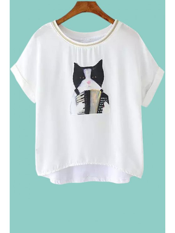sale Kitten Pattern Short Sleeve T-Shirt - WHITE XS