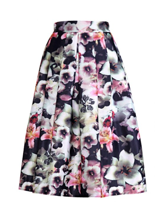 latest High-Waisted Printed Ruffled Ball Gown Skirt - BLACK ONE SIZE(FIT SIZE XS TO M)
