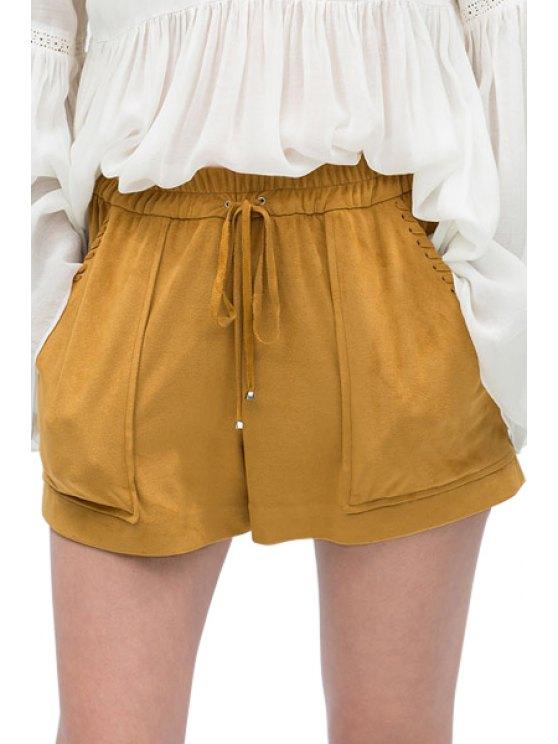 latest Elastic Waist Tie-Up Pocket Shorts - KHAKI XS