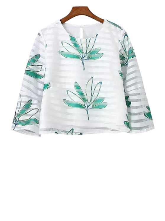 trendy Leaves Print Strip 3/4 Sleeve T-Shirt - WHITE S