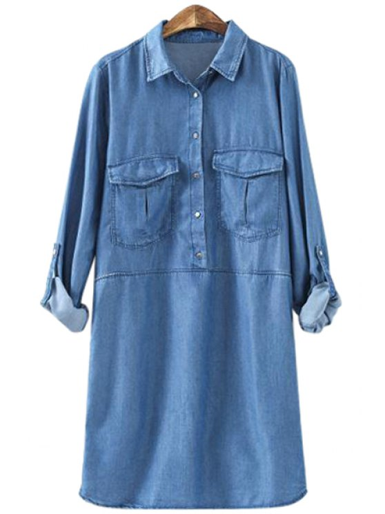 outfits Pocket Bleach Wash Denim Long Sleeve Dress - BLUE XS