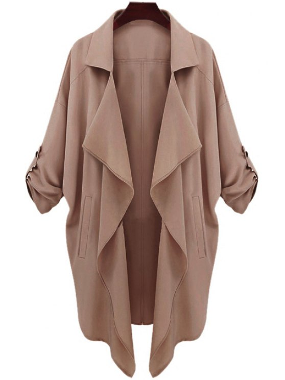trendy Long Sleeve Solid Color Trench Coat - CAMEL S