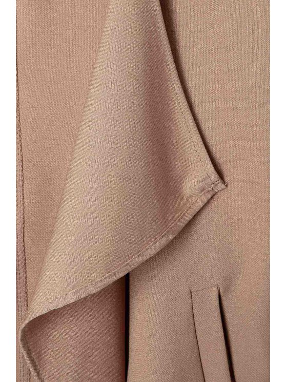 Long Sleeve Solid Color Trench Coat - CAMEL S Mobile