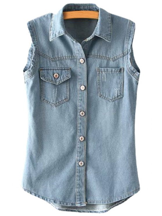 online Bleach Wash Pocket Sleeveless Waistcoat - LIGHT BLUE ONE SIZE(FIT SIZE XS TO M)