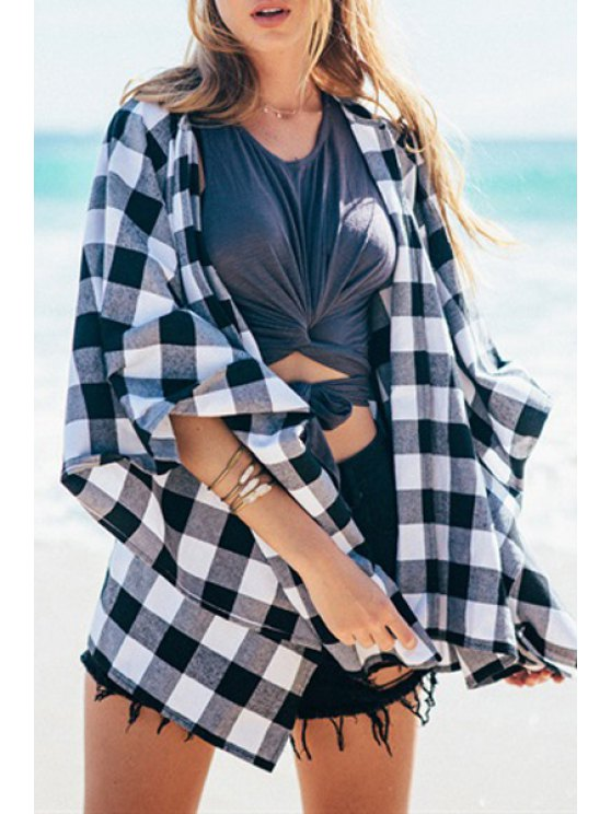 fancy Collarless Plaid Loose-Fitting Blouse - WHITE AND BLACK S
