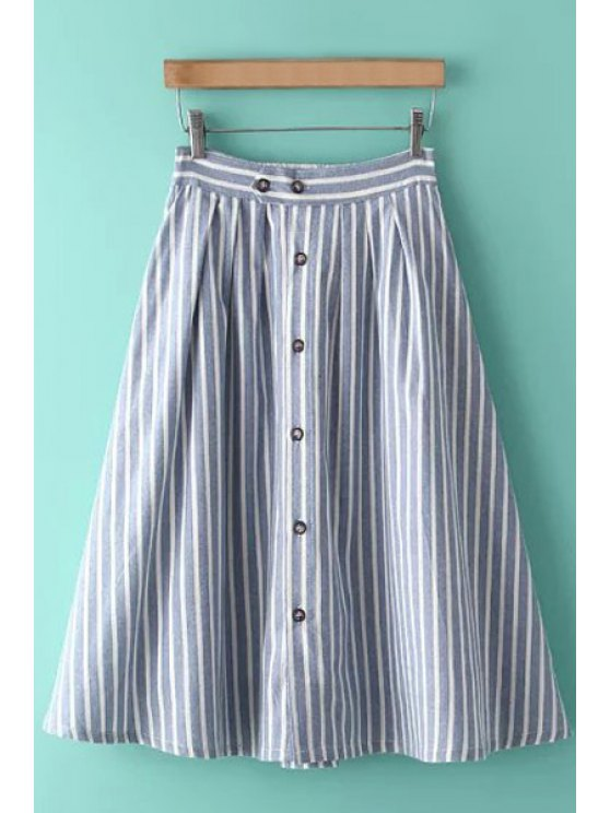 ladies Stripe Button Fly Midi Skirt - LIGHT BLUE ONE SIZE(FIT SIZE XS TO M)