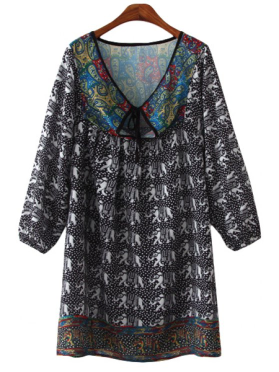 best Elephant Polka Dot Print Long Sleeve Dress - AS THE PICTURE S