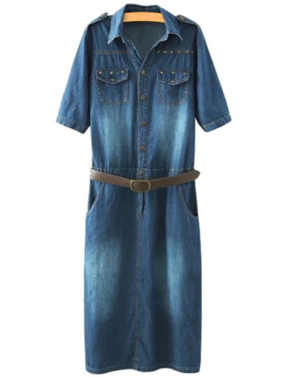 lady Denim Turn-Down Collar Short Sleeve Dress - PURPLISH BLUE M