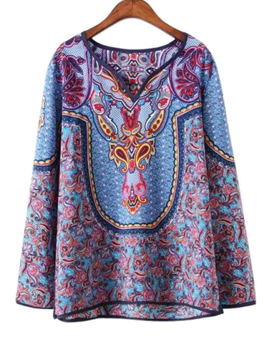 shop Ethnic Print V Neck Long Sleeve Blouse - AS THE PICTURE S