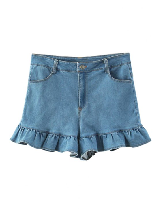 women's Ruffles Spliced Denim Shorts - LIGHT BLUE S