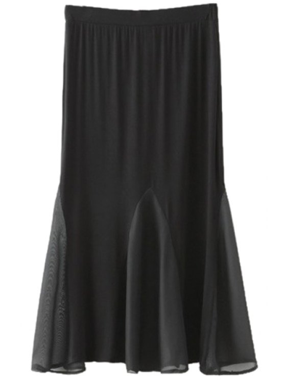 chic Black Voile Spliced Skirt - BLACK S
