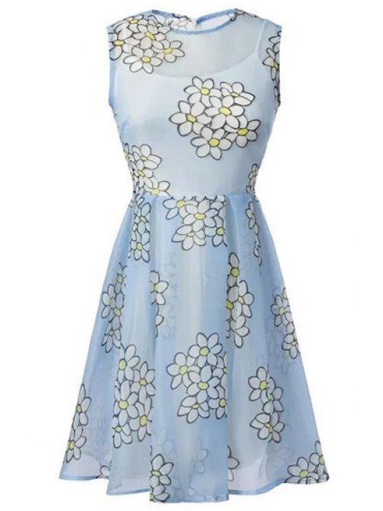 online Floral Print Dress + Spaghetti Strap Solid Color Dress - LIGHT BLUE S