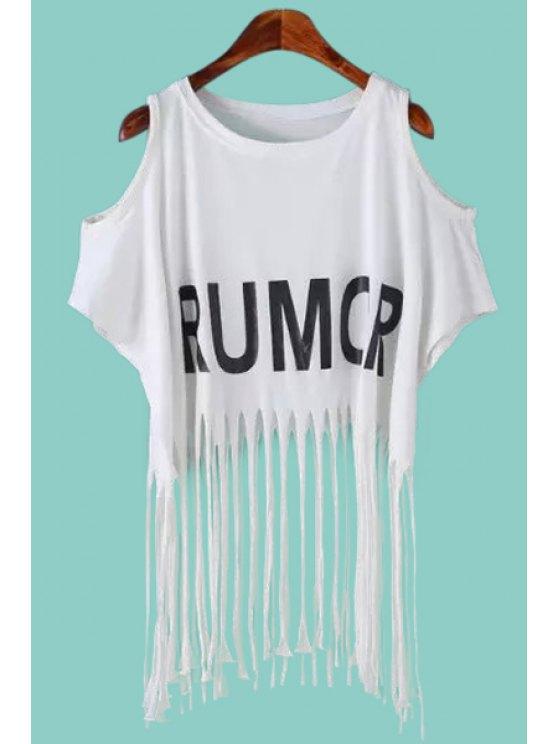 best Hollow Tassels Short Sleeve T-Shirt - WHITE