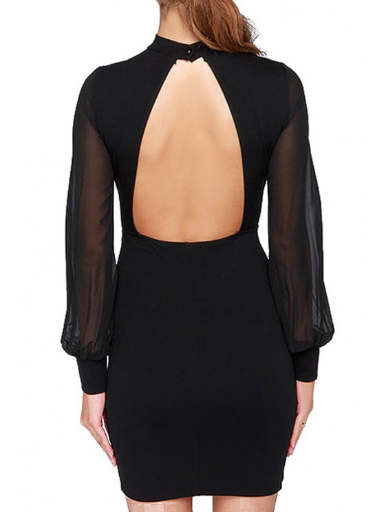 affordable Long Sleeve Packet Buttock Open Back Black Dress - BLACK S
