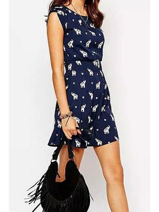 unique Elephant Print Sleeveless Dress - CADETBLUE S
