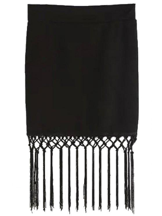 sale Tassels High Waisted Black Skirt - BLACK S