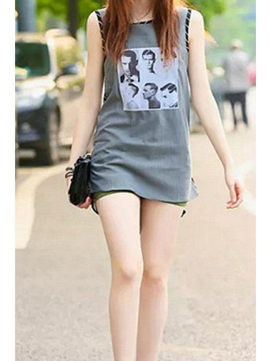 lady Figure Print Stripe Sleeveless Dress - GRAY S