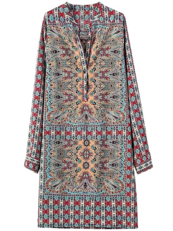 womens Vintage Print V Neck Long Sleeve Dress - BLUE AND RED S
