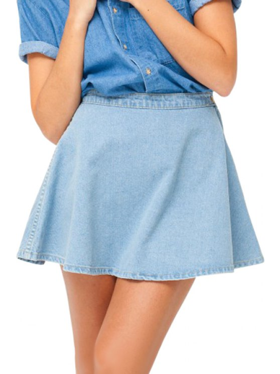womens Solid Color Denim A Line Skirt - LIGHT BLUE XS