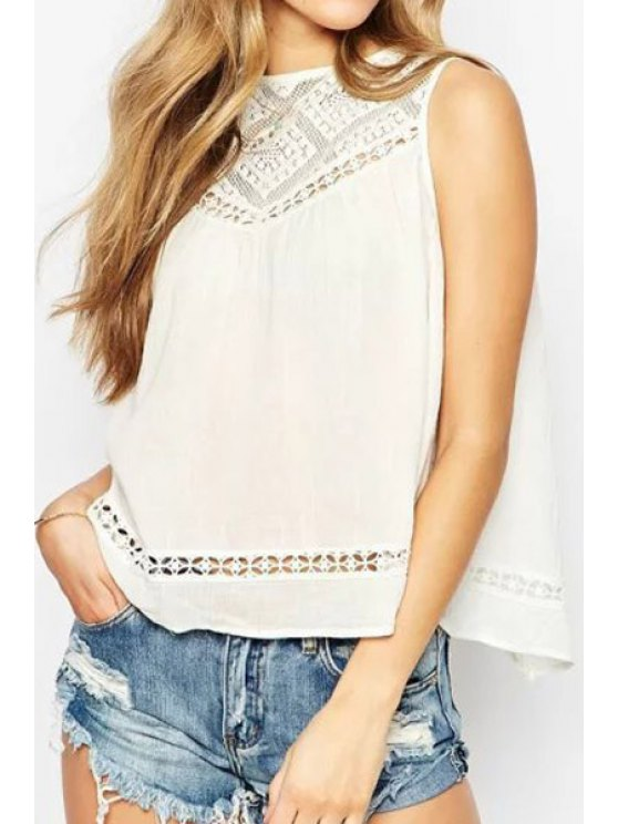 buy Lace Spliced Hollow Tank Top - WHITE S
