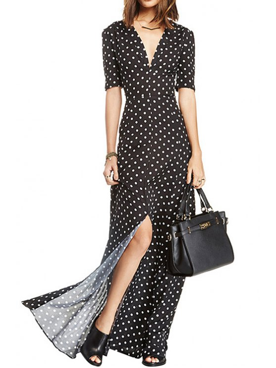 shop Plunging Neck Polka Dot Slit Maxi Dress - WHITE AND BLACK XS