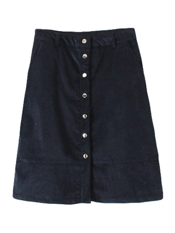 hot Corduroy A Line Single-Breasted Skirt - CADETBLUE S