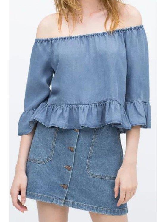 outfit Slash Neck Blue Denim Blouse - BLUE S