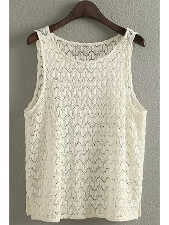 sale Solid Color Hook Flower Sleeveless Crochet Top - OFF-WHITE ONE SIZE(FIT SIZE XS TO M)