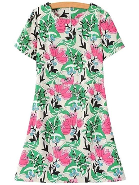 shop Floral Print Color Block Short Sleeve Dress - GREEN S