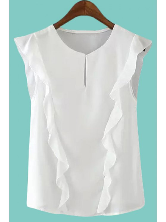 womens Jewel Neck Solid Color Flounce Splicing Tank Top - WHITE S