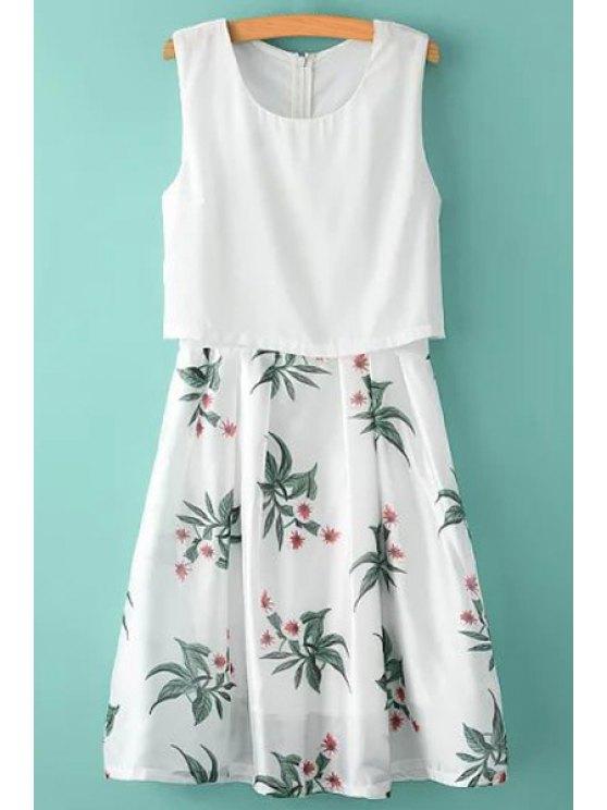 unique Scoop Neck Floral Print Back Zipper Dress - WHITE S