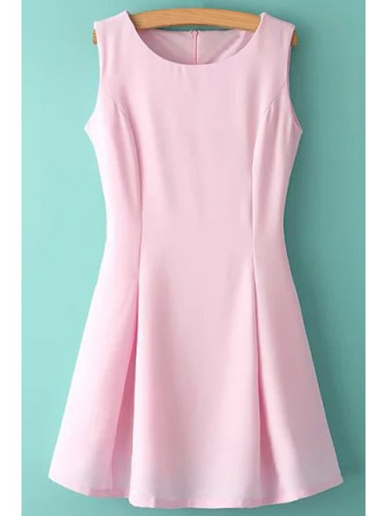 online Jewel Neck Solid Color Ruffle Sleeveless Dress - PINK L